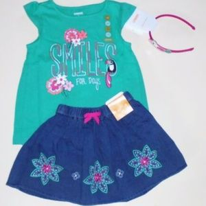 Gymboree Girls Skirt Tee Headband 3T 4T NEW